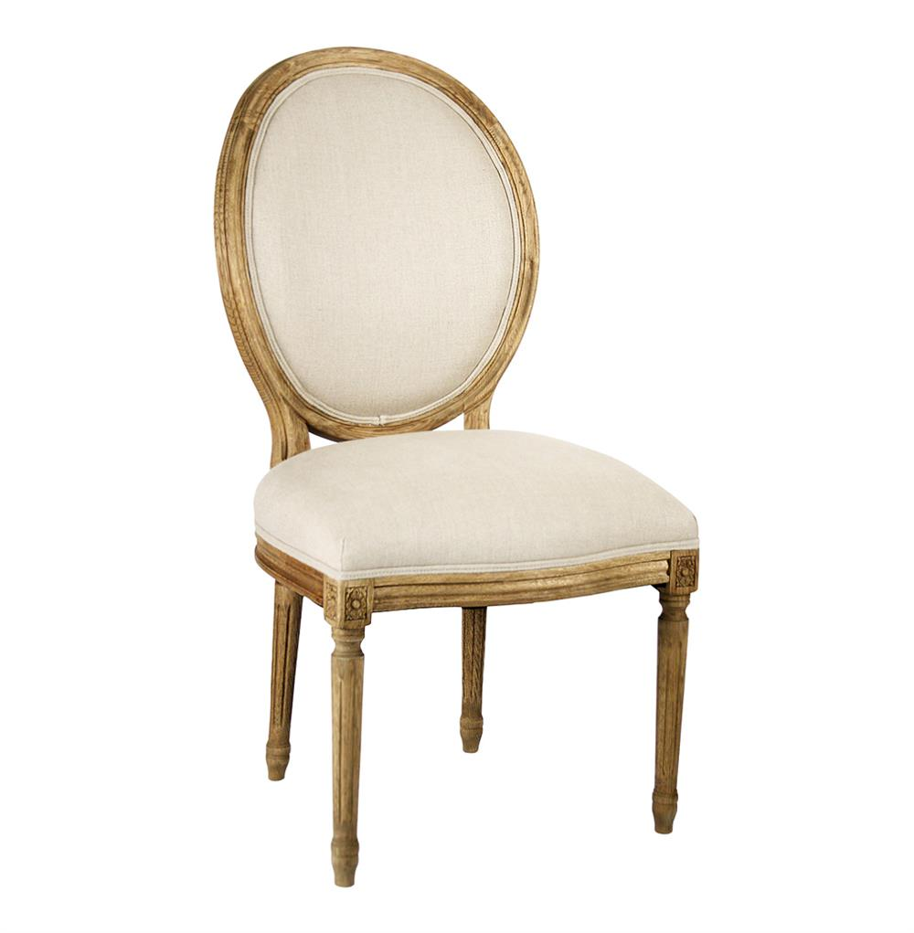 Madeleine French Country Natural Linen Oval Back Dining Chair
