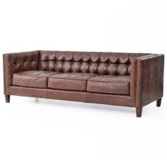 Wood Frame Leather Sofas Sofa Bed King Size Christopher Rustic Lodge Tufted Straight Back Brown Kathy Kuo Home