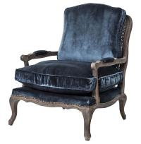 Sasha Blue Velvet French Style Oak Bergere Arm Chair ...