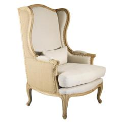 High Back Chairs Living Room Garage Door Leon French Country Linen Wing Chair Kathy Kuo Home
