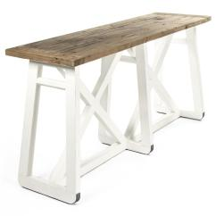 Sofa Console Tables Wood Costco Uk Bed Mirabel Coastal Beach Rustic White Reclaimed X Base Table Kathy Kuo Home