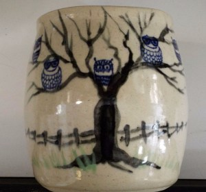 Small Vase With Blue Owls