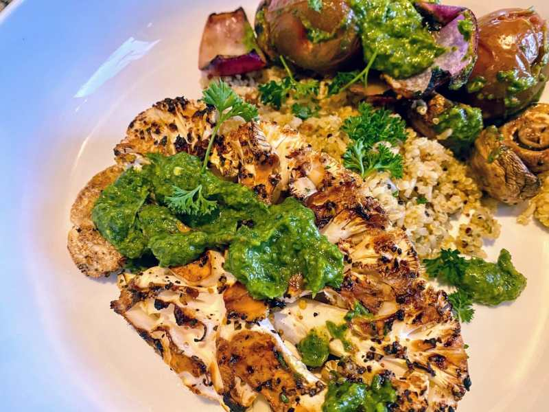 grilled cauliflower with vegetables