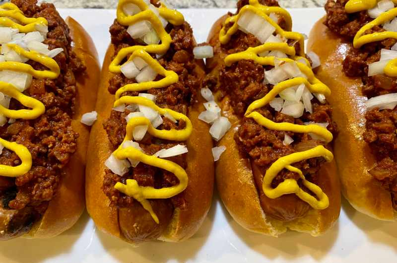 vegan coney sauce with dogs