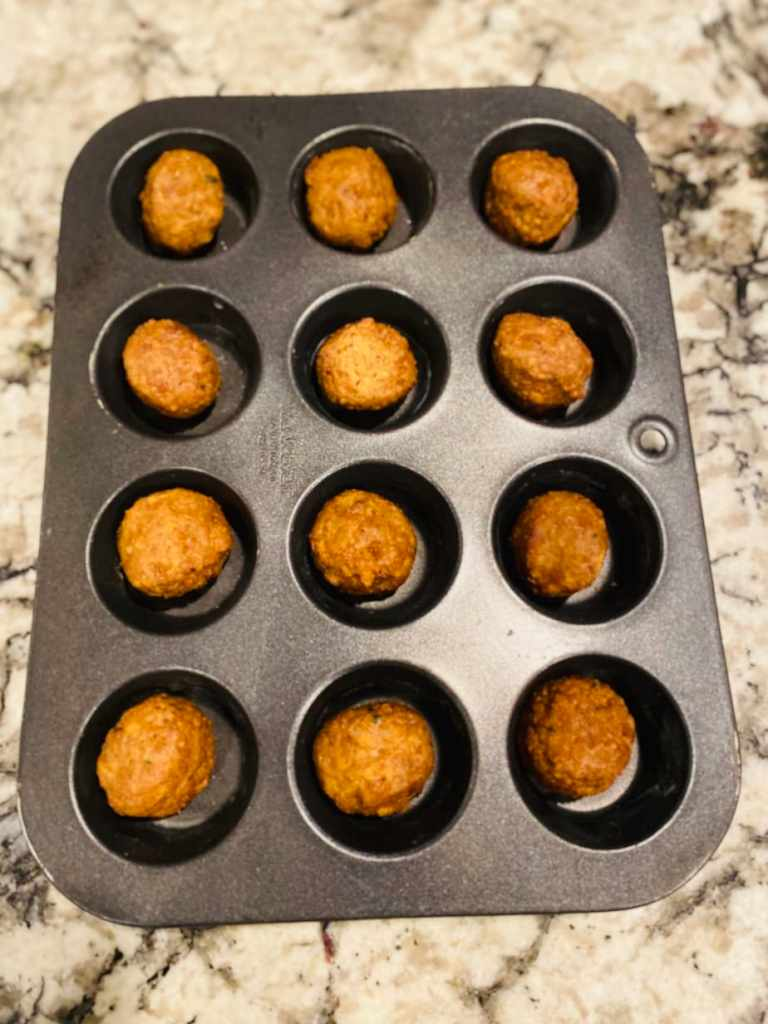 lentil meatballs in a muffin pan