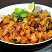 Vegan Spicy Thai Drunken Noodles with Seared Tofu