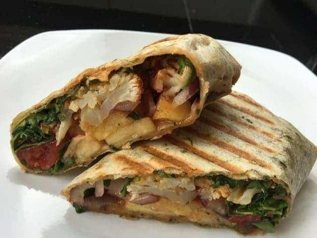 grilled-bbq-roasted-cauliflower-wrap Skinny Roasted BBQ Cauliflower Panini Wrap