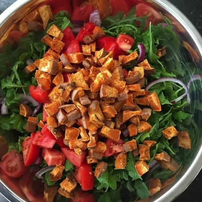 Roasted Sweet Potato and Quinoa Salad with Creamy Lemon Pepper Dressing