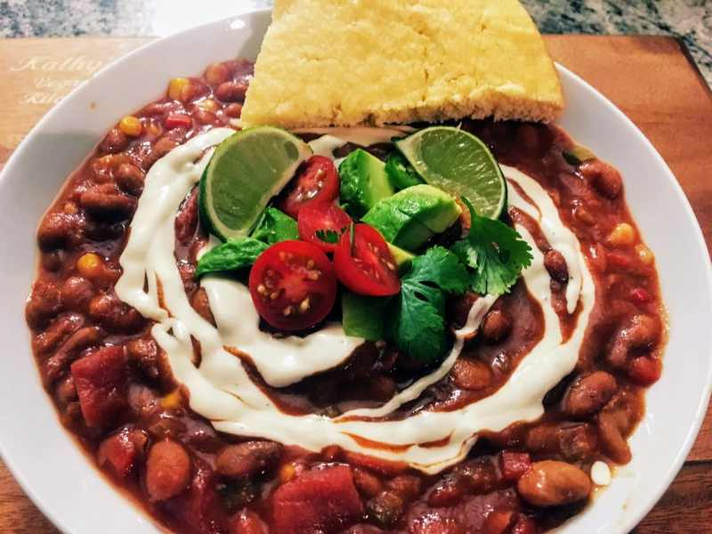 Vegan Sour Cream on Vegan Chili