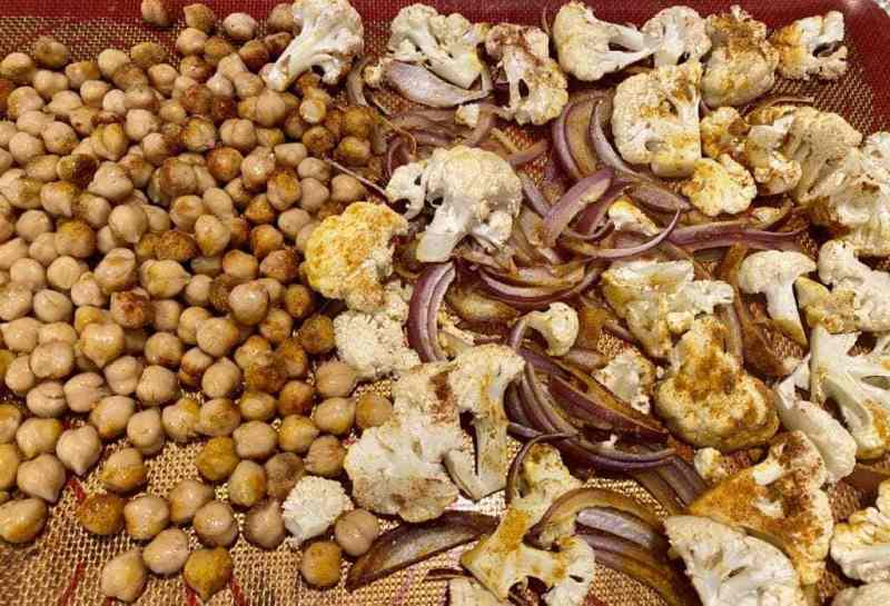 Roasted cauliflower chickpeas and red onions