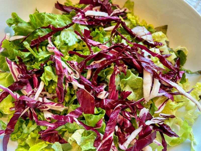 Romaine and Radicchio Vegan Italian Chopped Salad