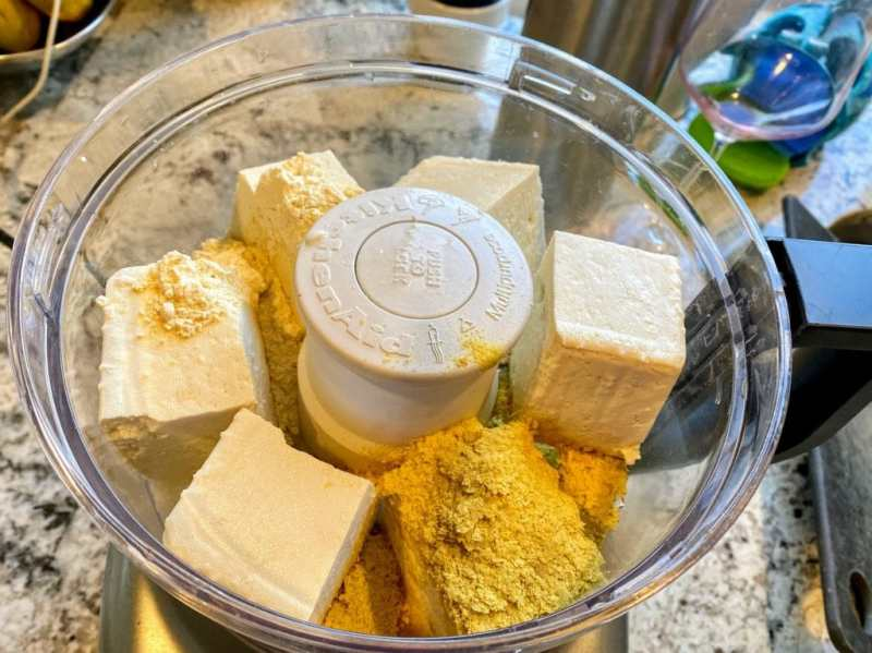 Tofu and ingredeitns for vegetable fritatta batter