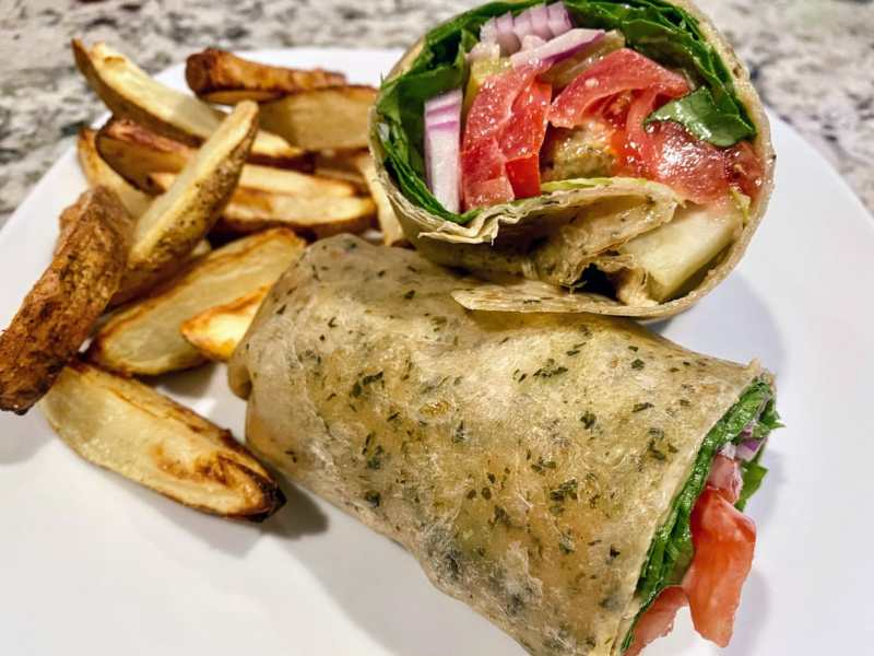 Air-fried falafel wrap