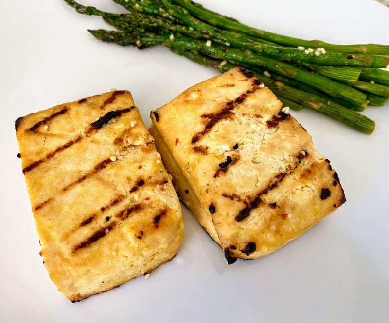 Grilled tofu recipe close up