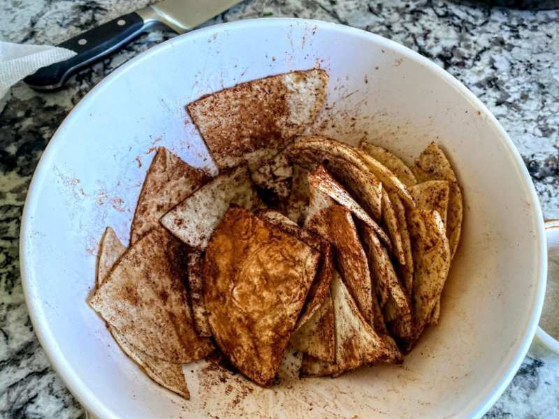 cinnamon tortilla chips with seasonings