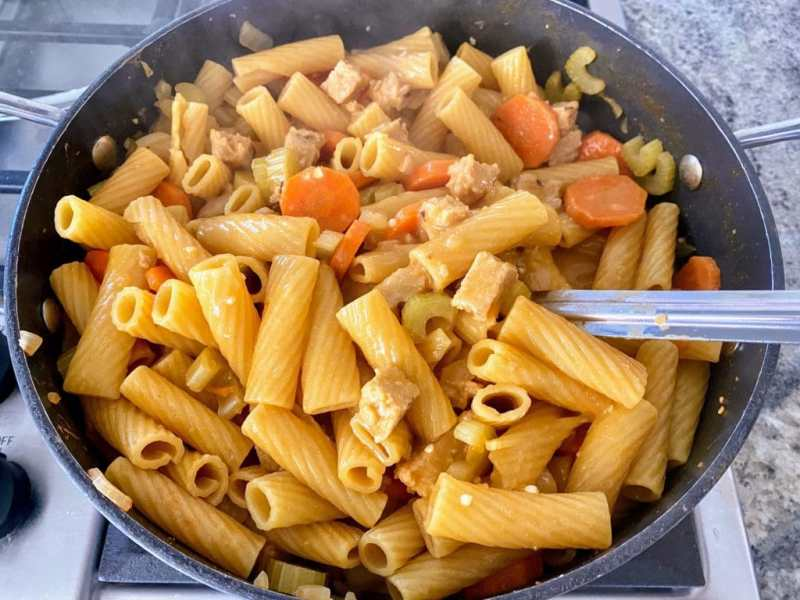 Buffalo Chicken Pasta Cooked