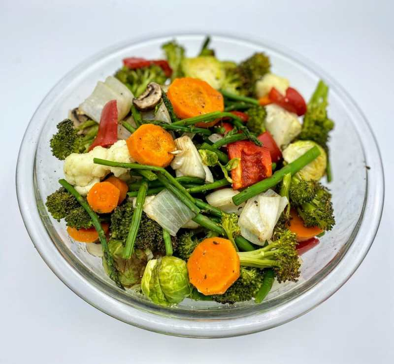 Combine roasted vegetables