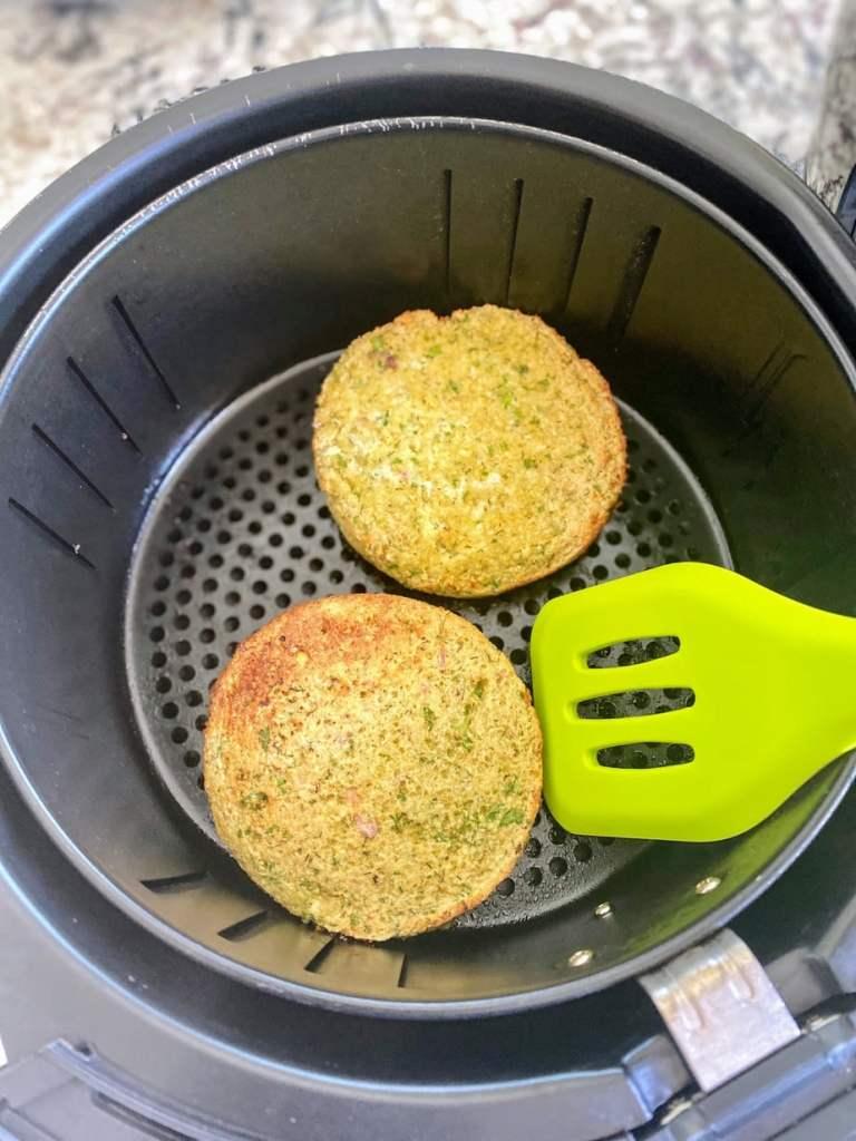 Cooking falafel burgers