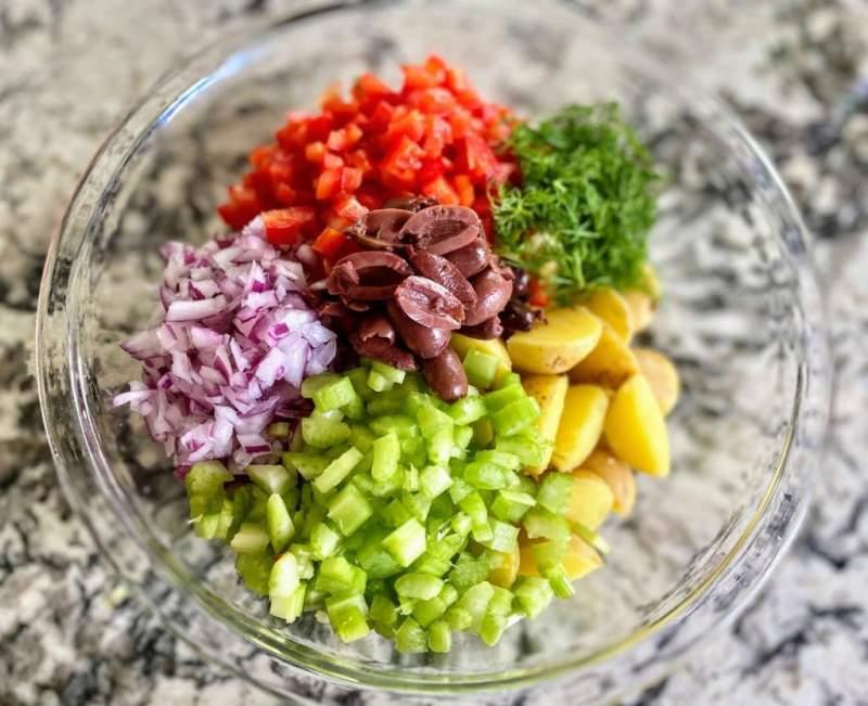 Greek Potato Salad Ingredients