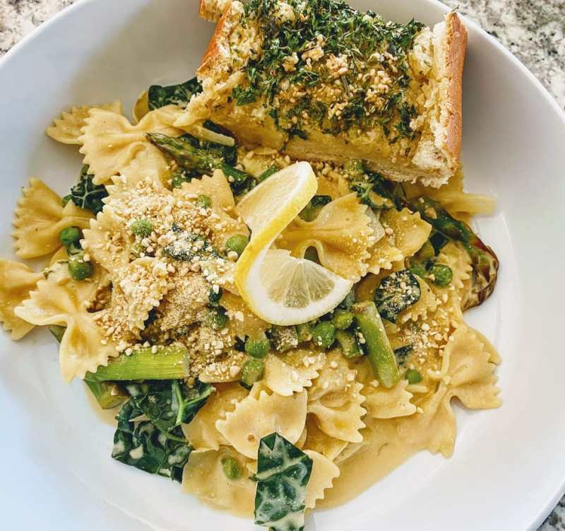 lemon pasta with miso garlic bread