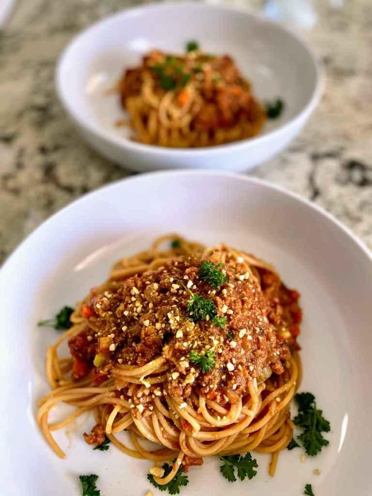 vegetarian bolognese served