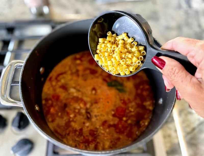 Add the pasta last pasta fagioli soup