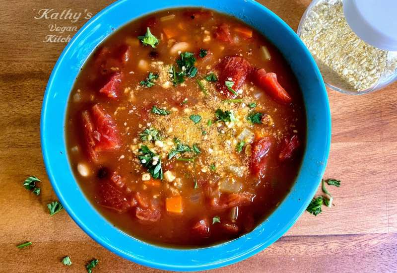 Pasta Fagioli Soup with vegan parmesan cheese