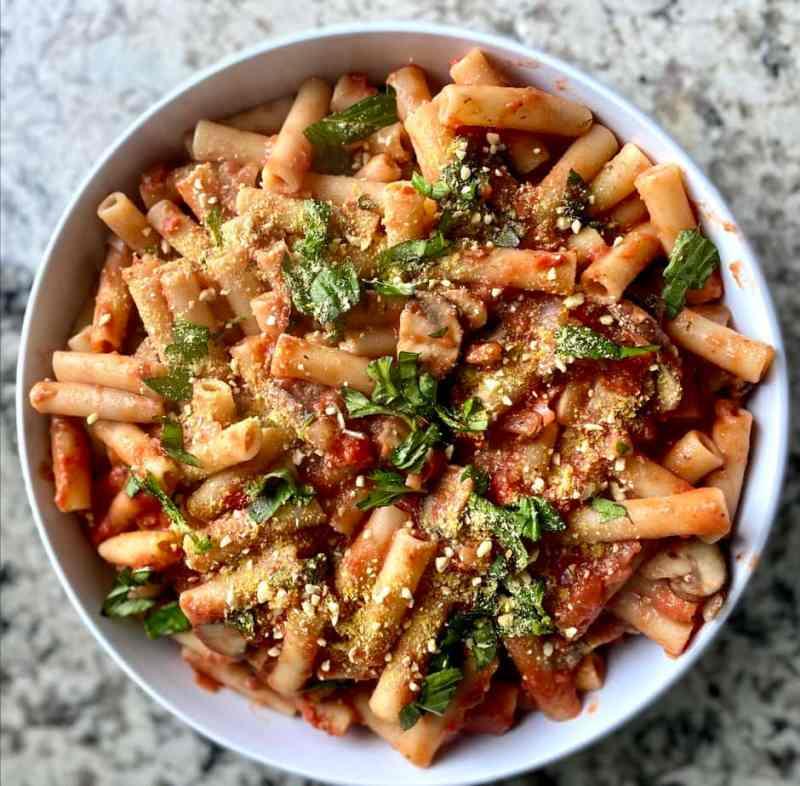 creamy tomato pasta served