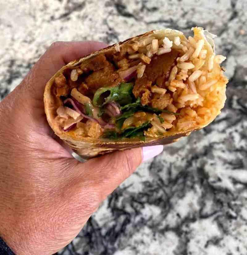 barbecue seitan beef burrito