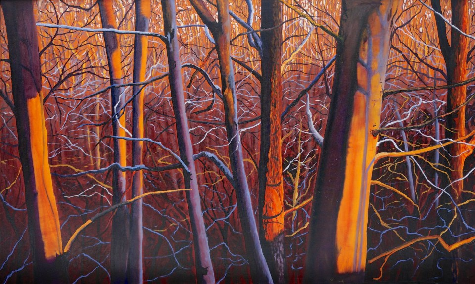 ron harris art Trees in oil fine art orang and blue trees on canvas