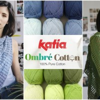 One pack of Katia Ombré Cotton = One knit or crochet openwork shawl in gradient colours