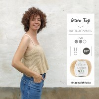 Garo Top by Little Rita: Knit a cool, lightweight flared crop top with fine straps on circular needles
