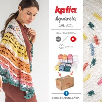 Aquarela CAL 2021: The kit is now available! Crochet this half-crescent shawl with new colors Katia Capri