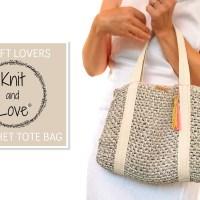 Aprende a hacer un sencillo bolso de rafia tipo Tote Bag con el vídeo y el patrón de ganchillo de Knit and Love