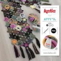 Haz fácilmente el Chal Flores a Crochet de Atty van Norel con sólo 3 ovillos Katia Azteca