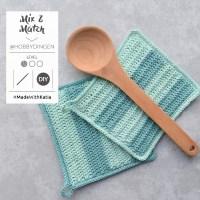 Escoge 2 colores de Fair Cotton y haz los agarradores de cocina a crochet Mix & Match de @hobbydingen
