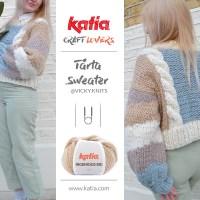 ¡Disfruta del suéter Tårta de @vicky.knits! Teje este jersey bottom-up en tallas S-M-L-XL con lana chunky