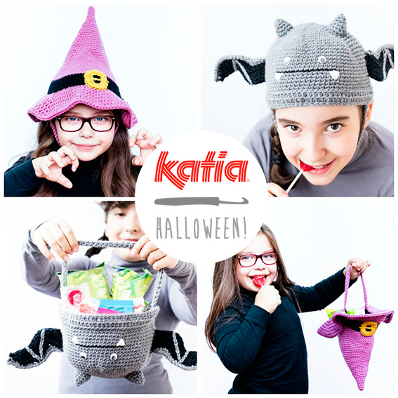 Bonnet monstrueux ou sac à bonbons? 4 patrons d'Halloween: Frankenstein, Dracula, chauve- souris et sorcière