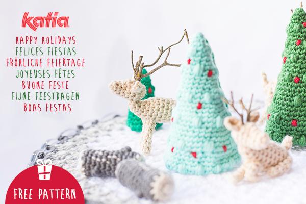 Téléchargez notre patron d'amigurumi et créez un petit monde de Noël au crochet avec des sapins, des bûches et des cerfs