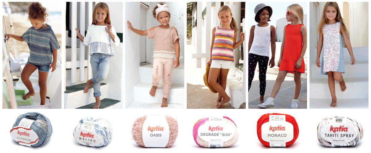 Et voici les 7 patrons de tricot pour petites filles les plus simples de notre revue Katia Enfants 81