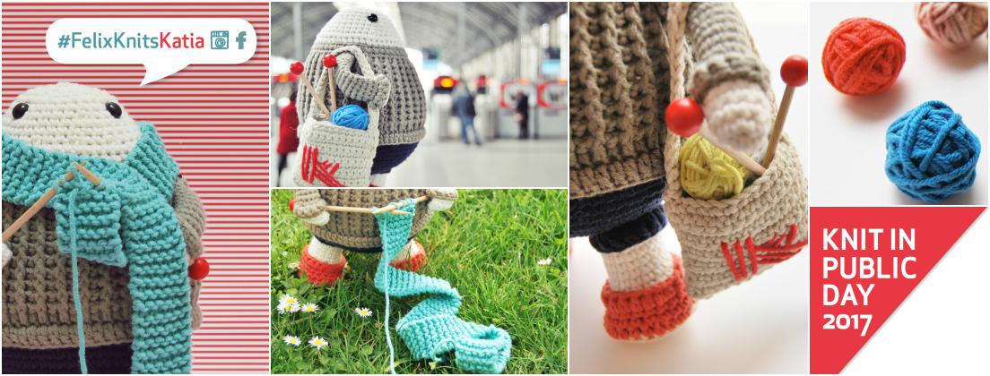 Merci de crocheter et tricoter en public avec Félix et de participer à notre concours #FelixKnitsKatia