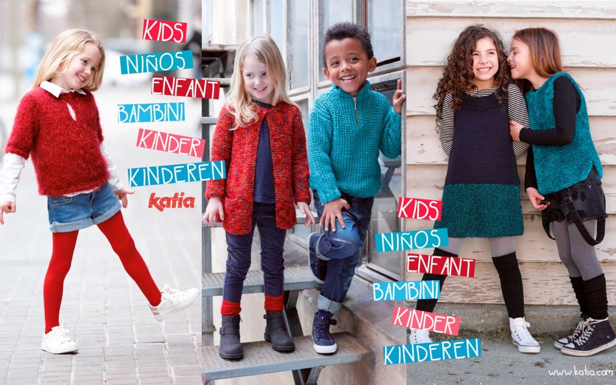 La mode enfant au tricot, différente et amusante prend le chemin de l'école grâce à Katia Enfants 83
