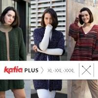 7 patrons Katia Plusde tricot grandes tailles: XL (46-48), XXL (50-52) et XXXL (54-56)