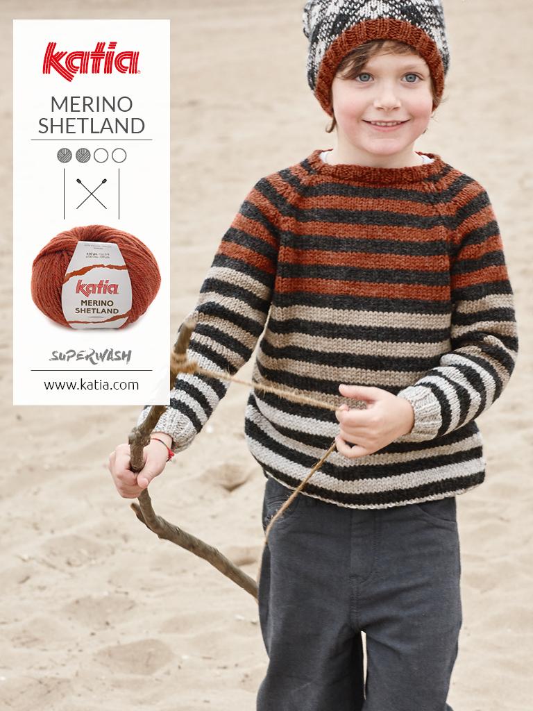 patrons tricot faciles pull à rayures pour enfants