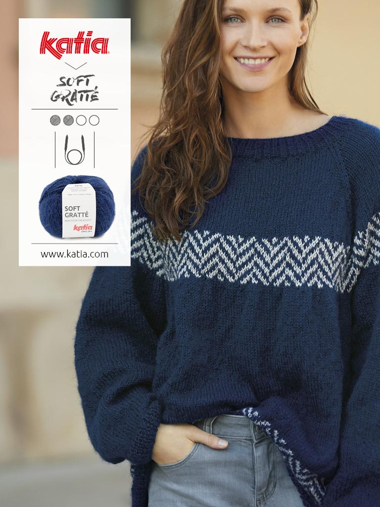 pull femme jacquard tricot aiguilles circulaires soft gratté