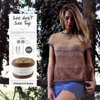 See Don't See Top de Linda Allegra, un patron top-down de t-shirt sans couture à tricoter avec des aiguilles circulaires