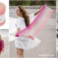 Gehaakte sjaal-sarong: een veelzijdige accessoire gehaakt met slechts één bol garen van Spring Rainbow
