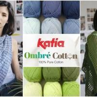 Een pak Katia Ombré Cotton = een ajour sjaal met overlopende kleuren, gebreid of gehaakt