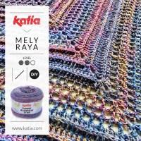 Gehaakte driehoeksjaal met slechts 1 bol Katia Funny Rainbow Star door Mely Raya