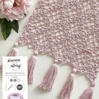 Emma Wrap door @Crochetroad, een romantische sjaal met kwastjes voor elk seizoen